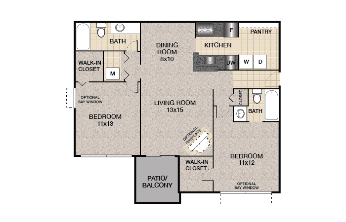 Holly Floor Plan | Bent Tree Apartments